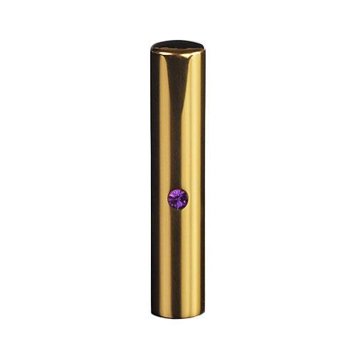 ゴールドチタン ミラーゴールド(スワロフスキーアタリ付き)印鑑/個人銀行印アメジスト/12mm/ケース別売