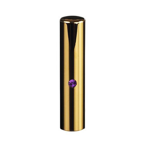 ゴールドチタン ミラーゴールド(スワロフスキーアタリ付き)印鑑/個人銀行印アメジスト/13.5mm/ケース別売