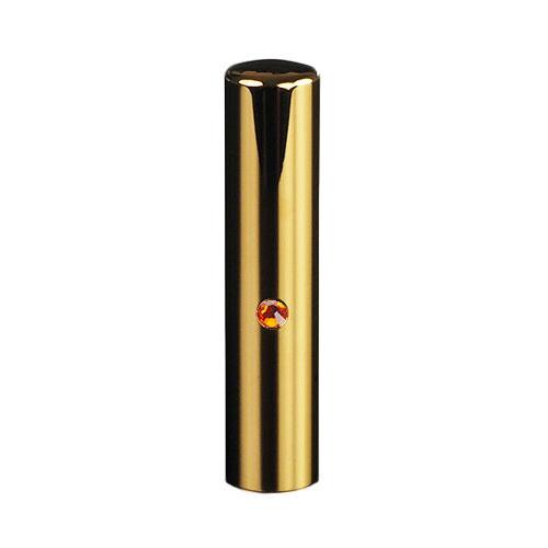 ゴールドチタン ミラーゴールド(スワロフスキーアタリ付き)印鑑/個人銀行印サン/13.5mm/ケース別売