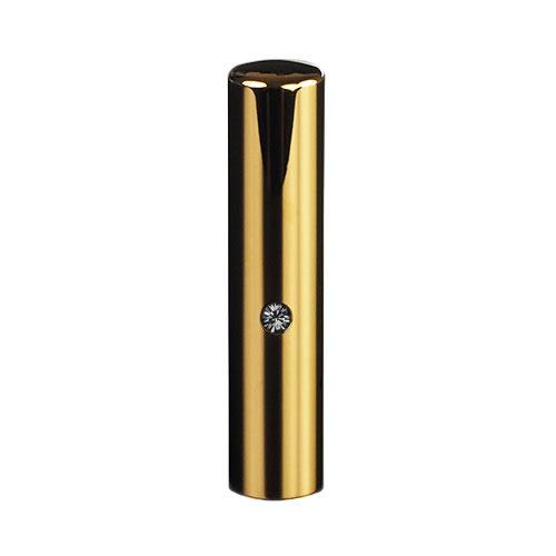 ゴールドチタン ミラーゴールド(スワロフスキーアタリ付き)印鑑/個人認印ブラックダイヤ/13.5mm/ケース別売