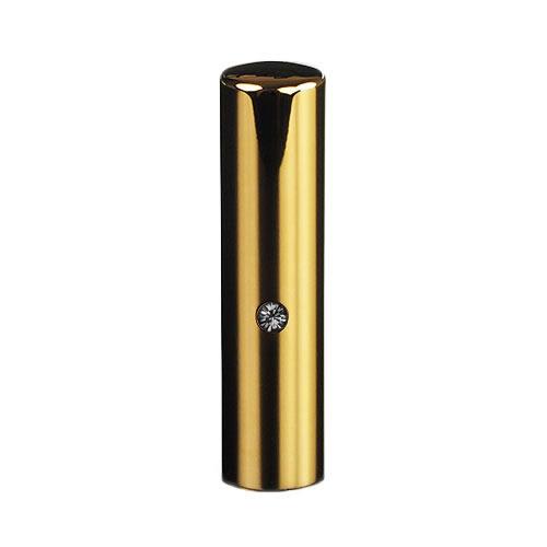ゴールドチタン ミラーゴールド(スワロフスキーアタリ付き)印鑑/個人実印ブラックダイヤ/15mm/ケース別売