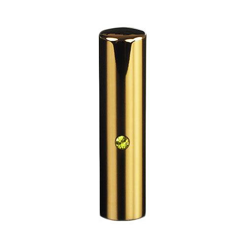 ゴールドチタン ミラーゴールド(スワロフスキーアタリ付き)印鑑/個人認印ライトトパーズ/15mm/ケース別売