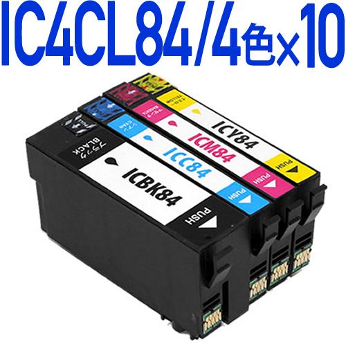 IC4CL84 互換インクカートリッジ4色パック×10セット(大容量タイプ)〔エプソンプリンター対応〕4色パック×10 (ブラック、シアン、マゼンタ、イエロー) エコインク EPSONプリンター用 PX-M780F PX-M781F