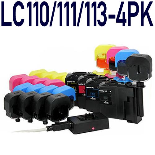 【純正16個分相当】LC110/LC111/LC113/LC115/LC117/LC119 共通対応 詰め替えインク4色スターターパック(ICチップリセッター付き) [ブラザープリンター対応]