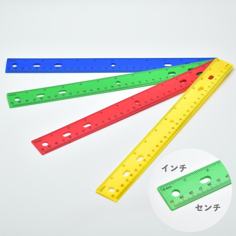 インチとセンチの便利な定規 アメリカ直輸入 Plastic Ruler インチ センチ 出群 定規 30センチ 12インチ ランキング総合1位 グリーン イエロー レッド ブルー ルーラー プラスチック ものさし メール便発送