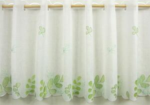 メール便OK 定番スタイル 発色のよいグリーンがとてもさわやか キッチンや洗面所などに最適です ビーンズ カフェカーテン 幅150x45cm グリーン トイレ ついに再販開始 刺繍 キッチン リーフ柄