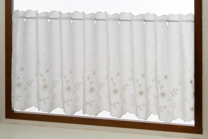 定番のベーシックな白花刺繍 プチオーダーカフェカーテン 限定価格セール 本物 メルローズ 45cm丈生地 ボイル 小窓用 ベーシック エレガンス シンプル