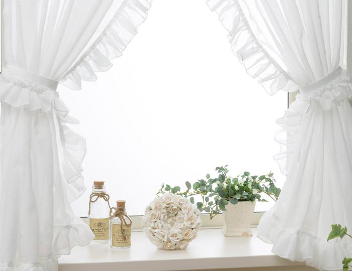 小窓に2枚のカーテンを取り付けるスタイル ロマンティックな雰囲気に 送料無料 L-1290 タッセルにもフリルをたっぷりあしらったL字型フリル小窓カーテン ギフ_包装 幅40-100cmx丈40-120cm 1セット L型フリル 上品 清潔感 ガーリー ゴージャス フェミニン ギャザー 姫系 割り引き