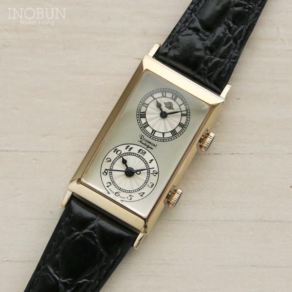 ロゼモン 腕時計 Nostalgia Rosemont デュアルタイムモデル N010-YW BBK アンティークゴールド/ブラック(ベルト)
