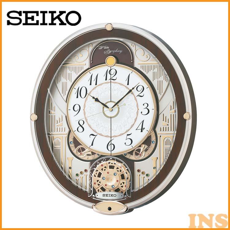 電波からくり時計 RE577B 送料無料 SEIKO 掛け時計 壁掛け からくり時計 電波時計 時計 アナログ スイープ メロディ 音量調節 おしゃれ セイコークロック 【TC】