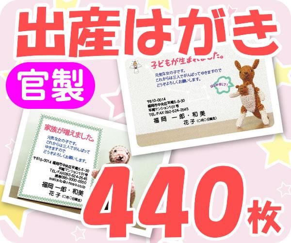 【出産はがき印刷】【440枚】【官製】【フルカラー】【レターパック360無料】