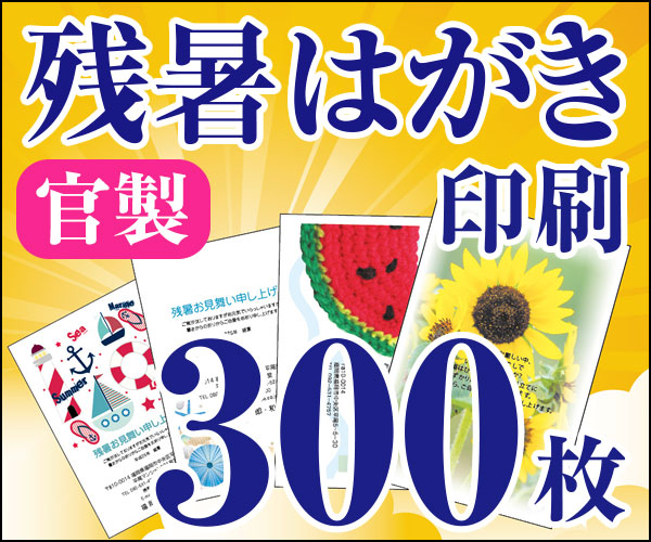 【残暑はがき印刷】【300枚】【かもめーる】【フルカラー】【レターパック360無料】
