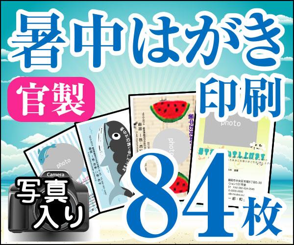 【暑中はがき印刷】【84枚】【かもめーる】【写真入り】【レターパック360無料】