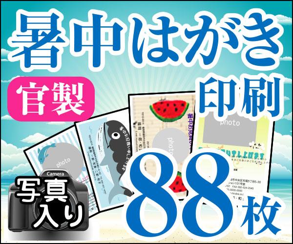 【暑中はがき印刷】【88枚】【かもめーる】【写真入り】【レターパック360無料】