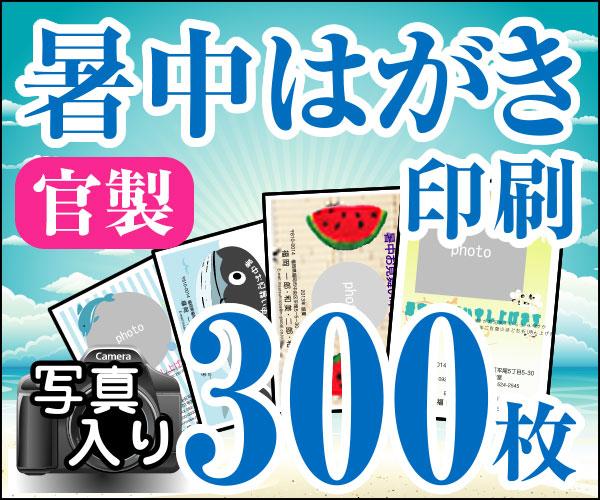 【暑中はがき印刷】【300枚】【かもめーる】【写真入り】【レターパック360無料】