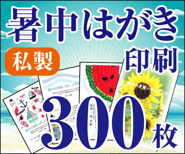 【暑中はがき印刷】【300枚】【私製】【フルカラー】【レターパック360無料】
