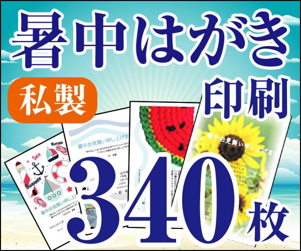 【暑中はがき印刷】【340枚】【私製】【フルカラー】【レターパック360無料】
