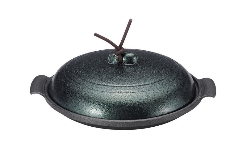 アルミ丸陶板 緑 19cm 浅型