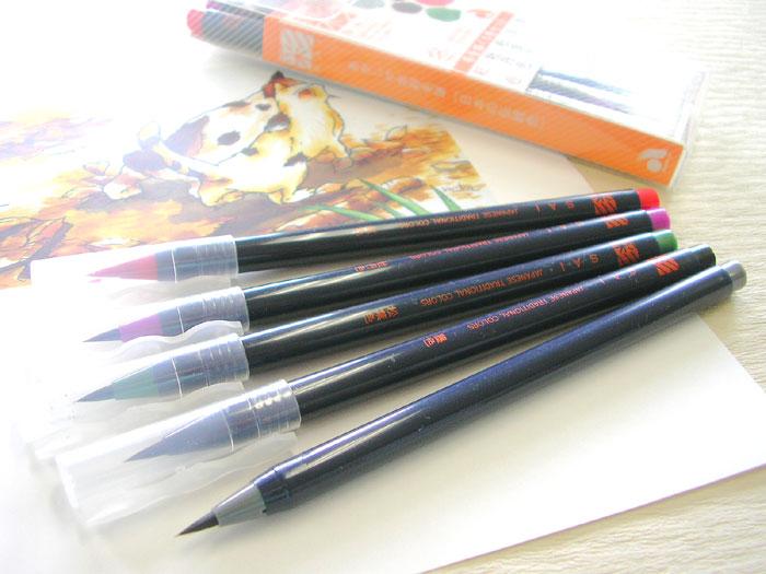 描き味にこだわった本造り毛筆 絵ごころを彩る日本の伝統色 あかしや水彩毛筆 冬を描く 大注目 彩 永遠の定番モデル 5色セット