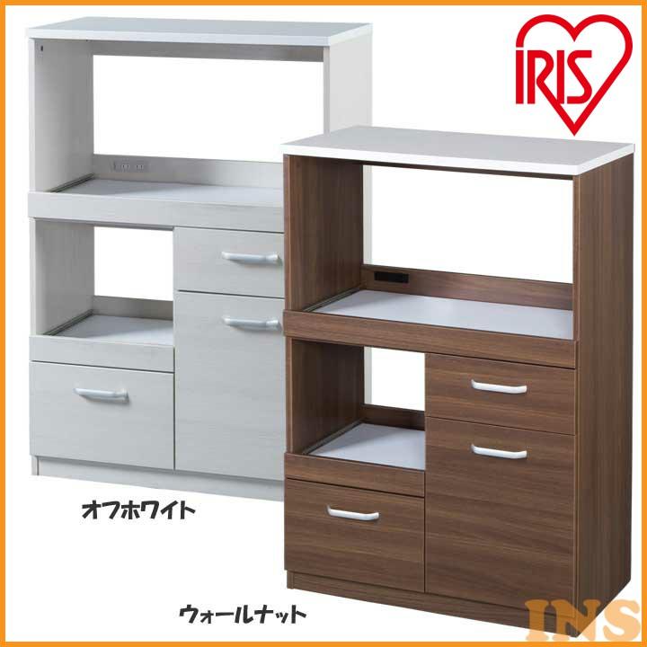レンジボード LBD-1280 オフホワイト・ウォールナット送料無料 レンジチェスト 食器棚 キッチン家具 台所 アイリスオーヤマ 一人暮らし 家具 新生活