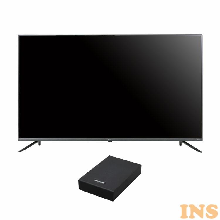 4Kテレビ ベゼルレスK 50型 外付けHDDセット品 送料無料 テレビ HDD セット TV 4K 50V 50型 外付け ハードディスク アイリスオーヤマ