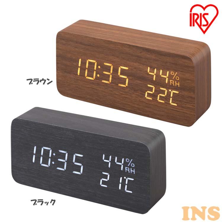 時計 とけい トケイ 置時計 目覚まし クロック clock デジタル 見やすい デジタル置時計 でじたる ICW-01WH-T おしゃれ お買い得 ICW-01WH-B 入荷予定 アイリスオーヤマ ブラック LED ブラウン