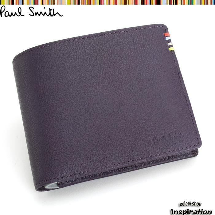 <クーポン配布中>展示品箱なし ポールスミス 財布 二つ折り財布 Paul Smith 紫 psu005-34 メンズ 紳士
