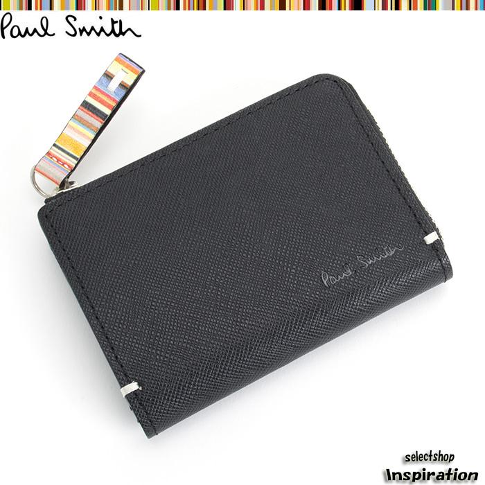 <クーポン配布中>ポールスミス Paul Smith 財布 小銭入れ コインケース パスケース付き 黒 psk862-10 ブラック メンズ 紳士