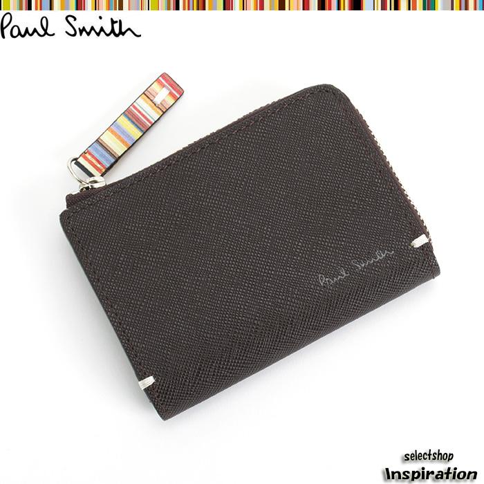 <クーポン配布中>ポールスミス 財布 小銭入れ コインケース パスケース付き 茶 Paul Smith psk862-71 メンズ 紳士