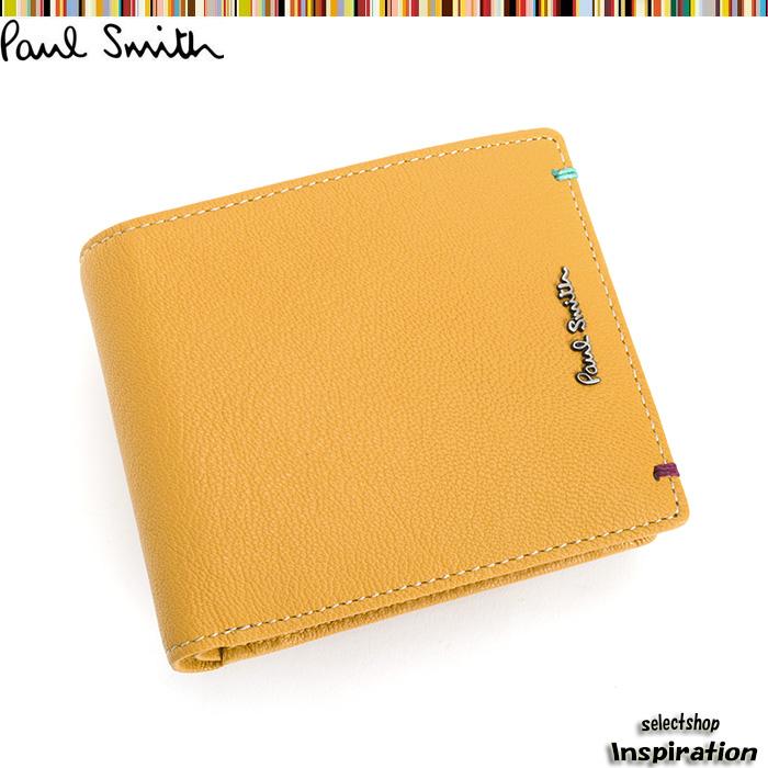 <クーポン配布中>ポールスミス Paul Smith 財布 二つ折り財布 イエロー psu755-40 メンズ 紳士
