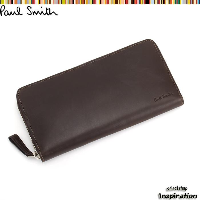 <クーポン配布中>ポールスミス Paul Smith 財布 長財布 ラウンドファスナー 茶 psu867-70 ブラウン メンズ 紳士