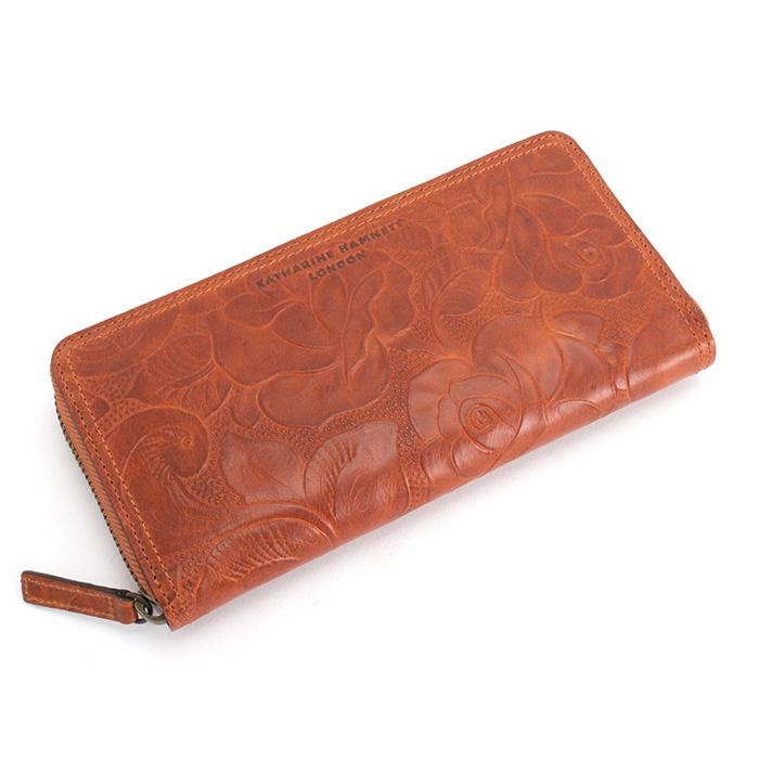 <クーポン配布中>キャサリンハムネット KATHARINE HAMNETT LONDON 財布 長財布 ラウンドファスナー オレンジ(茶色っぽいオレンジです。) khp305-42 レディース 婦人