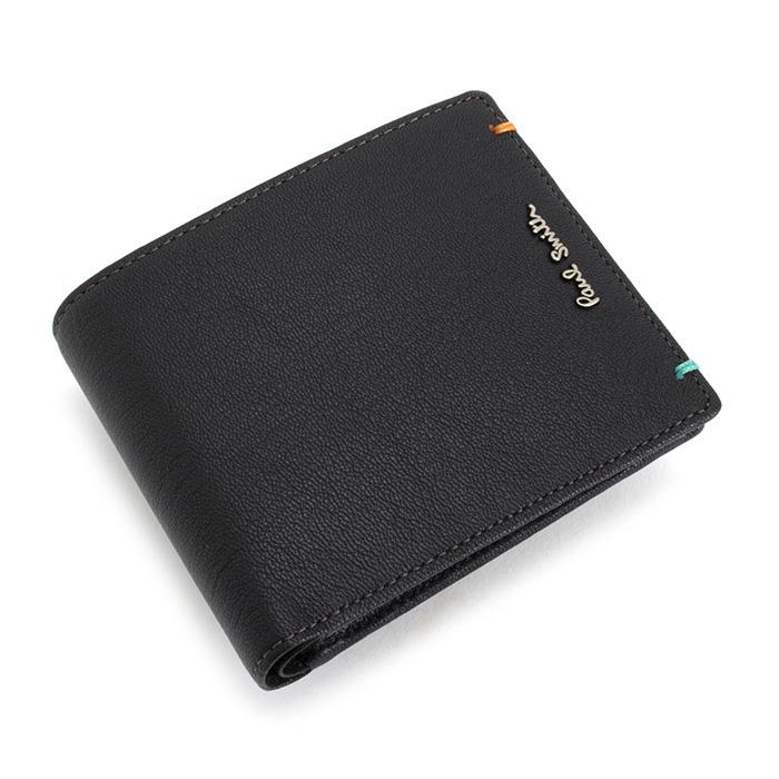 <クーポン配布中>ポールスミス 財布 二つ折り財布 ブラック Paul Smith psu754-10 メンズ 紳士