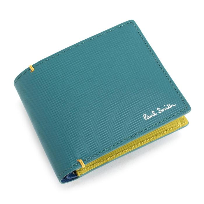 <クーポン配布中>ポールスミス 財布 二つ折り財布 スカイ(グリーンがかったようなお色です。) Paul Smith psu935-35 メンズ 紳士