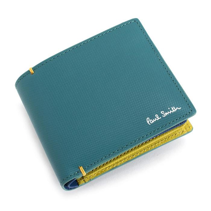 <クーポン配布中>ポールスミス 財布 二つ折り財布 スカイ(グリーンがかったようなお色です。) Paul Smith psu936-35 メンズ 紳士