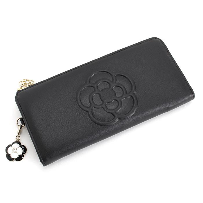 <クーポン配布中>クレイサス 財布 長財布 L字ファスナー 黒 CLATHAS 185431-10 レディース 婦人