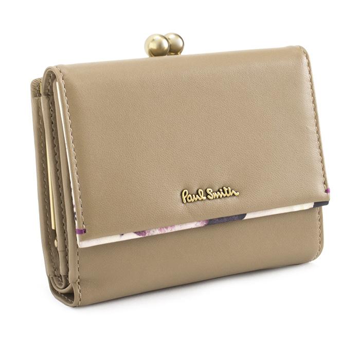 <クーポン配布中>訳あり ポールスミス 財布 二つ折り財布 がま口財布 ベージュ Paul Smith pwa364-90 b レディース 婦人