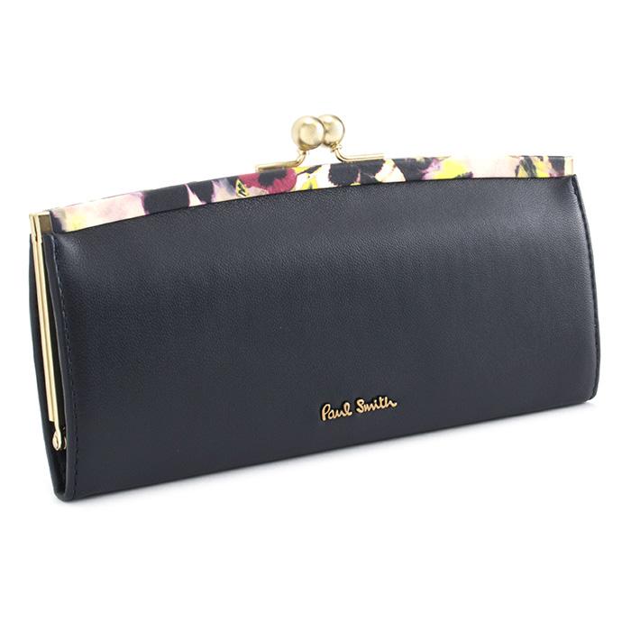<クーポン配布中>ポールスミス 財布 長財布 がま口財布 ネイビー(黒に近いネイビーです。) Paul Smith pwa365-30 レディース 婦人