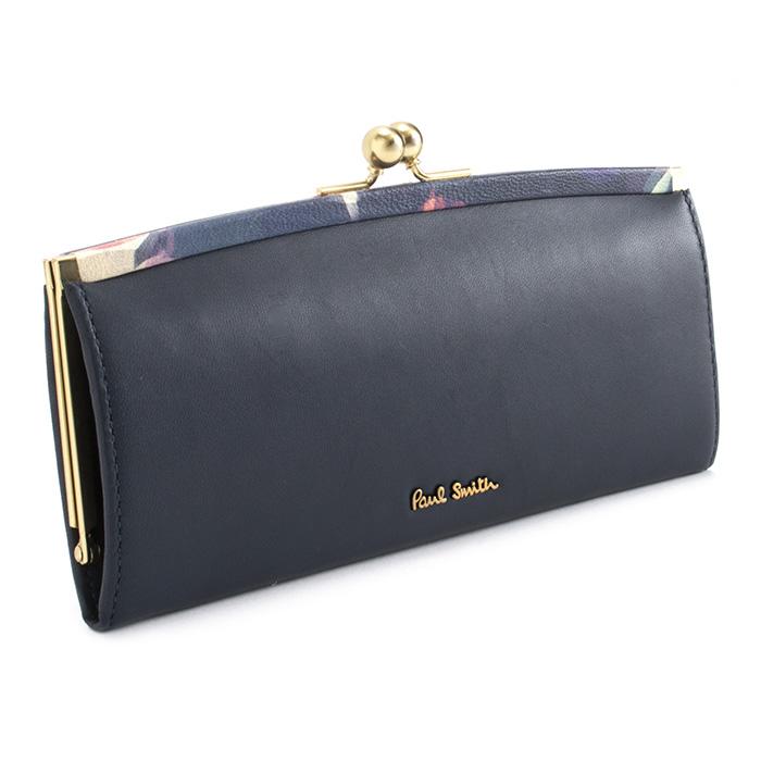 <クーポン配布中>ポールスミス 財布 長財布 がま口財布 Paul Smith ネイビー pwu765-30 レディース 婦人