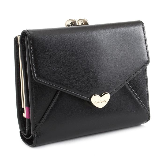 <クーポン配布中>ポールスミス 財布 二つ折り財布 がま口財布 ブラック Paul Smith pwu926-10 レディース 婦人