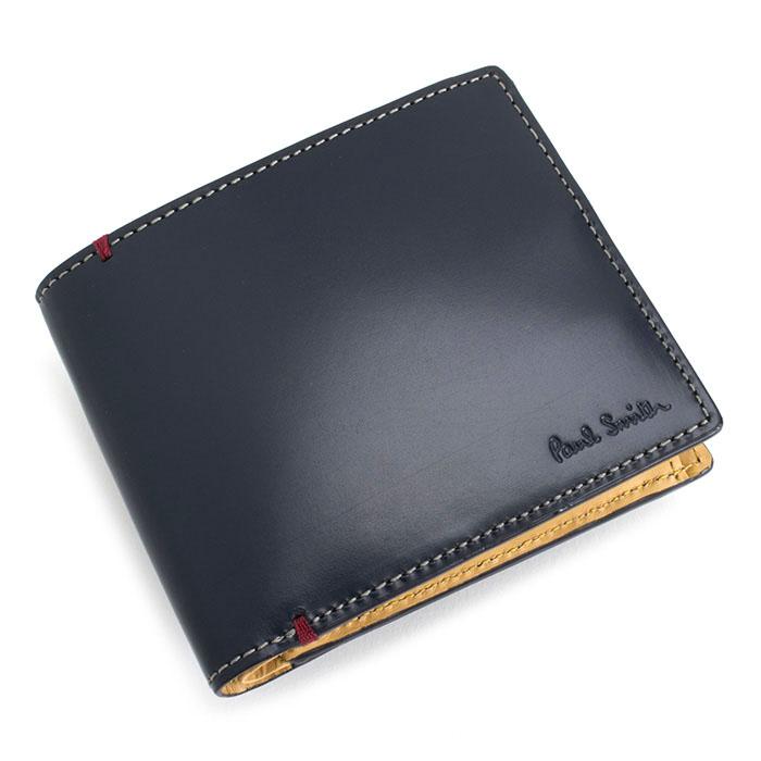 <クーポン配布中>ポールスミス 財布 二つ折り財布 ネイビー Paul Smith psu874-30 メンズ 紳士