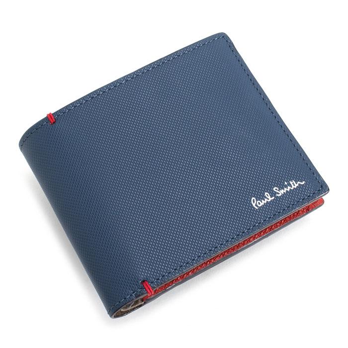 <クーポン配布中>ポールスミス 財布 二つ折り財布 ネイビー Paul Smith psu935-30 メンズ 紳士