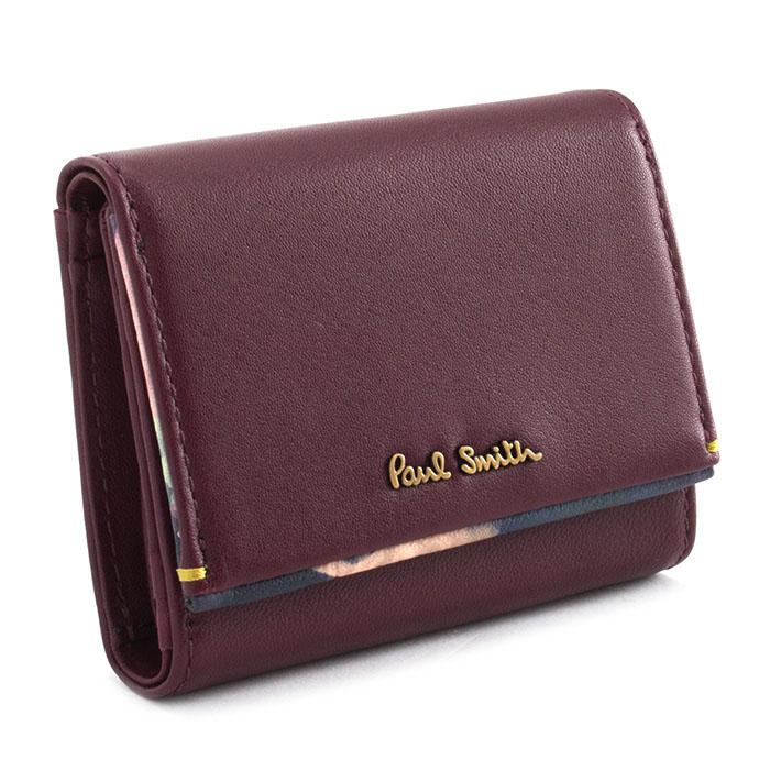 <クーポン配布中>ポールスミス 財布 三つ折り財布 バーガンデ Paul Smith pwu763-80 レディース 婦人