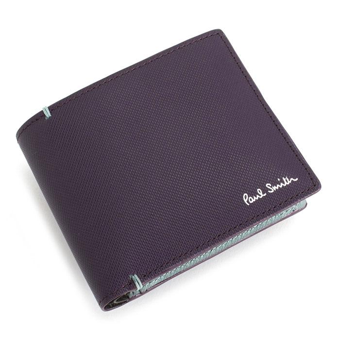 <クーポン配布中>ポールスミス 財布 二つ折り財布 パープル Paul Smith psu936-34 メンズ 紳士