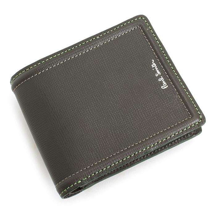 展示品箱なし ポールスミス 財布 二つ折り財布 カーキ(グレーがかったカーキです。) Paul Smith psc024-54 メンズ 紳士
