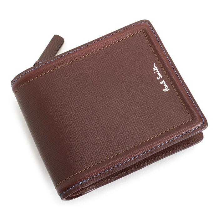 <クーポン配布中>ポールスミス 財布 二つ折り財布 L字ファスナー ブラウン(赤色がかったブラウンです。) Paul Smith psc025-70 メンズ 紳士