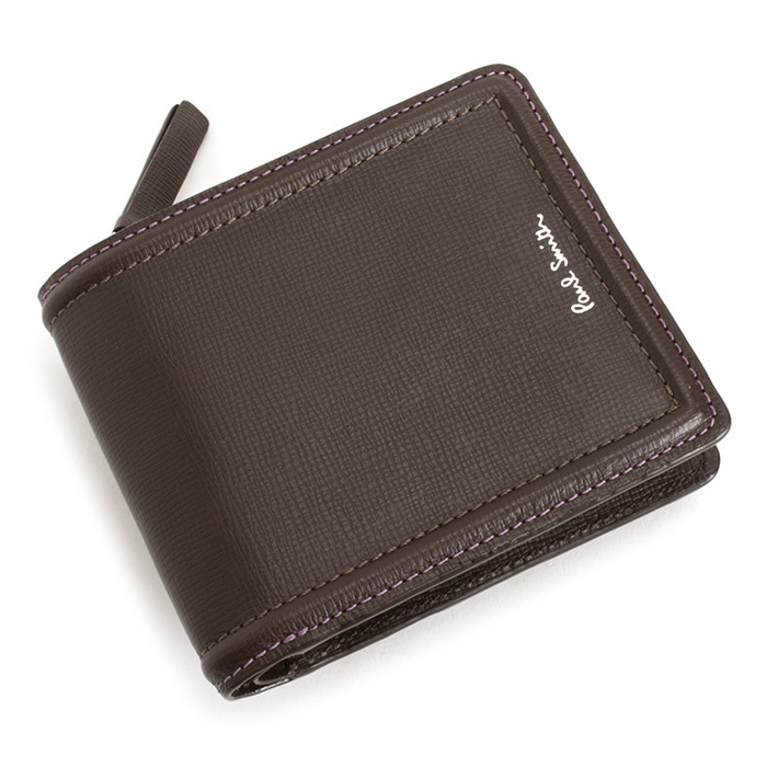 展示品箱なし ポールスミス 財布 二つ折り財布 L字ファスナー チョコ Paul Smith psc025-71 メンズ 紳士