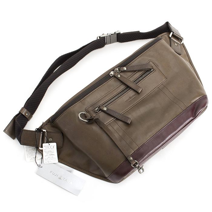 <クーポン配布中>フジタカ バッグ メッセンジャーバッグ ウエストバッグ 灰(グレー、灰茶っぽいお色です。) FUJITAKA 039952 メンズ 紳士