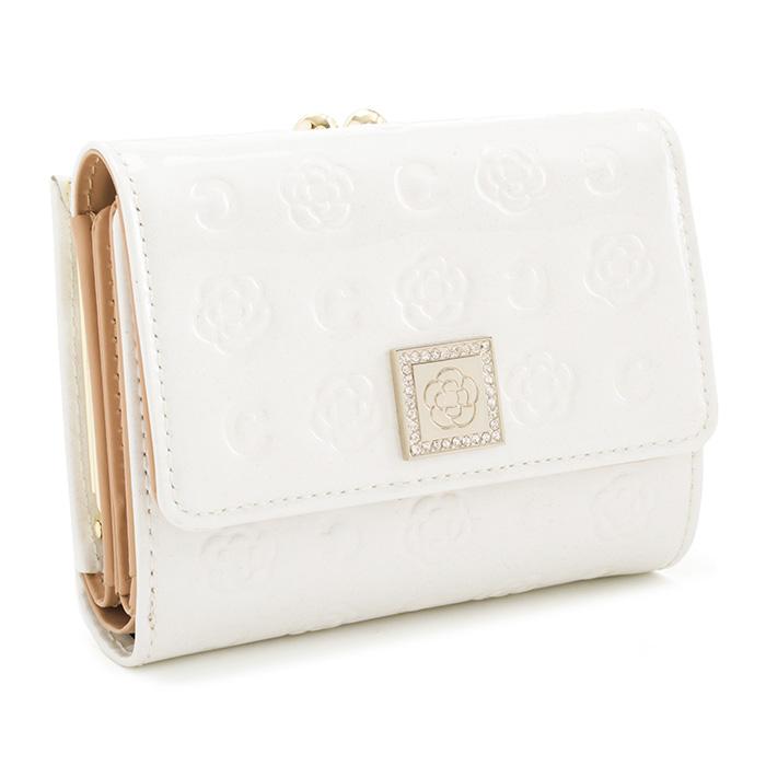 <クーポン配布中>展示品箱なし クレイサス 財布 二つ折り財布 がま口財布 白(ホワイト) CLATHAS 182262-00 レディース 婦人
