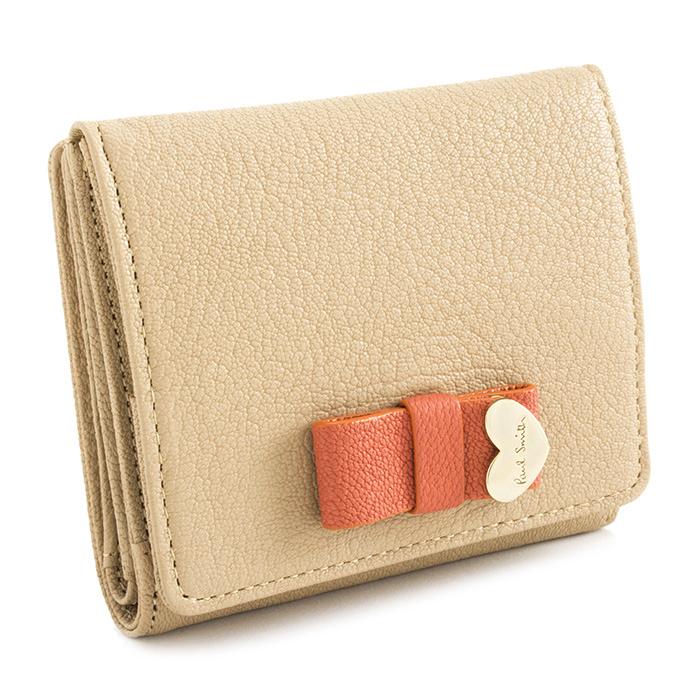 <クーポン配布中>ポールスミス 財布 二つ折り財布 ベージュ Paul Smith pwu901-90 レディース 婦人